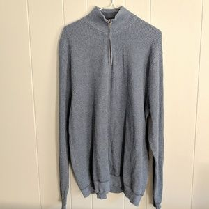 Tommy Bahama Men's XL 1/4 Zip Blue Ribbed Sweater